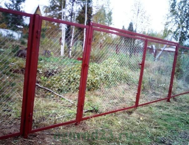 Забор из сетки рабицы 6
